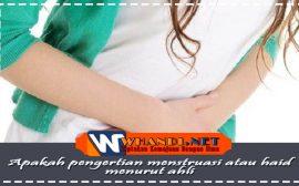 Apakah pengertian menstruasi atau haid menurut ahli