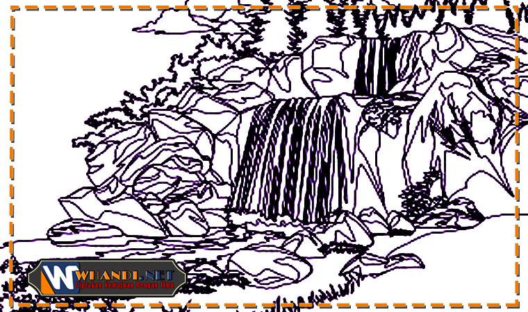 cara mewarnai gambar pemandangan air terjun