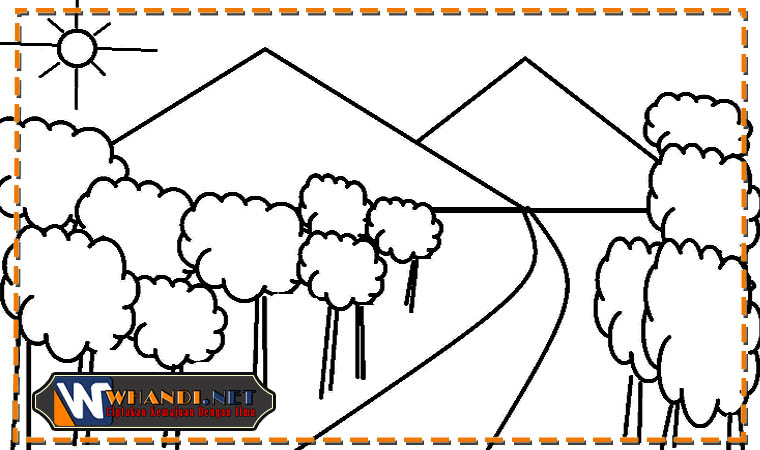contoh gambar mewarnai pemandangan anak tk