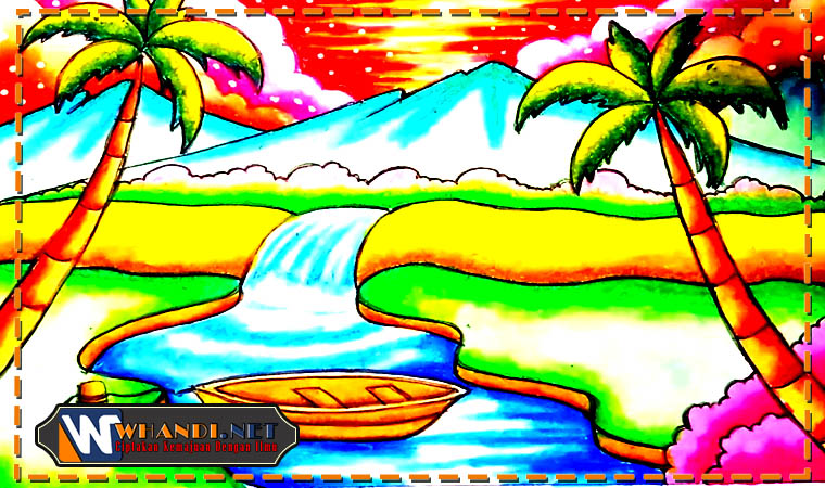 contoh gambar pemandangan berwarna
