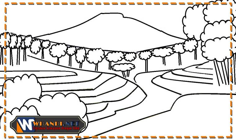 download file gambar mewarnai pemandangan alam