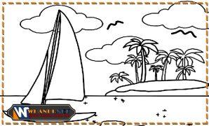 download gambar mewarnai pemandangan pantai