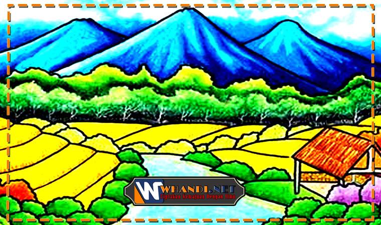 gambar mewarnai pemandangan gunung