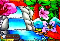 gambar sketsa air terjun berwarna