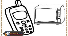 mewarnai gambar alat komunikasi untuk anak paud